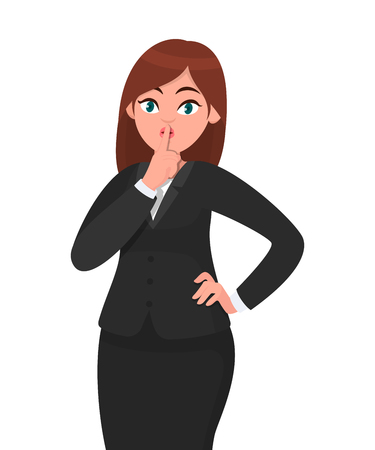 Businesswoman asking silence please. Keep quiet! Quiet please! Woman in formal black suit closed  her mouth with index finger. Shut up!  Businesswoman concept illustration in vector cartoon style.