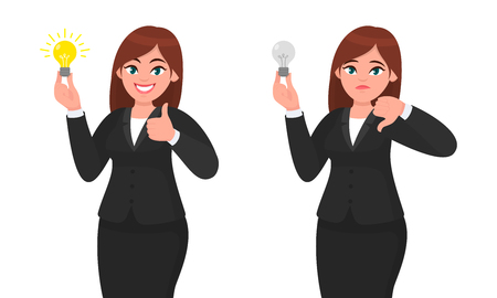 Happy businesswoman holding bright light bulb and showing thumbs up sign. Unhappy businesswoman holding bulb and gesturing thumbs down sign. Idea, invention and innovation concept illustration. Vettoriali