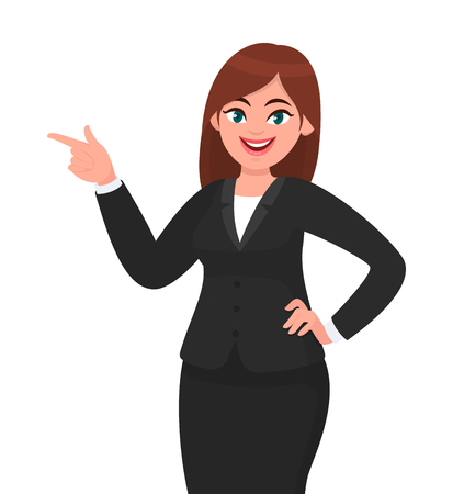 Happy business woman pointing hand to copy space away. Business woman presenting or introducing something. Advertisement or product presenting concept concept illustration in vector cartoon style.