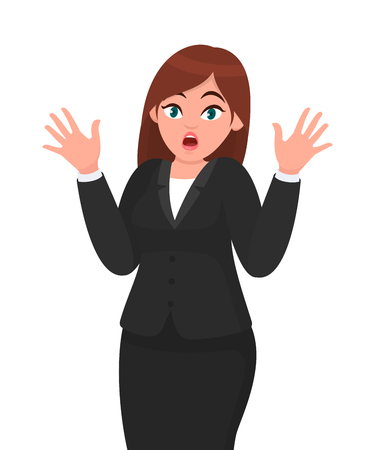 Businesswoman in depression with fear or shock emotion and making gesture hands. Human body language and emotion face expression feeling. Businesswoman concept illustration in vector cartoon style.