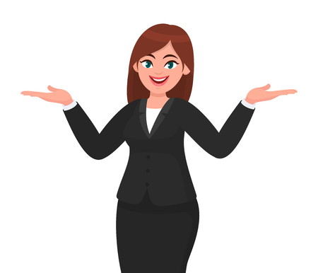 Happy business woman spreading hands to copy space away. Business woman presenting or introducing something. Advertisement or product presenting concept concept illustration in vector cartoon style.