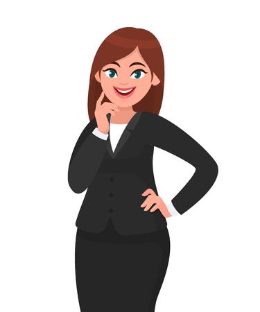 Sorridente imprenditrice in piedi, toccando il dito sulla guancia con le braccia incrociate o incrociate in abito nero formale. Illustrazione di concetto della donna di affari nello stile del fumetto di vettore. Vettoriali