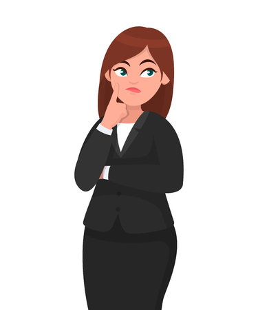 Beautiful attractive businesswoman thinking while touching her finger on face with thoughtful expression while looking up. Human emotion and body language concept illustration in vector cartoon style.