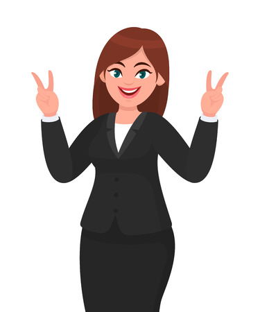 Successful happy businesswoman showing / gesturing V or victory sign. Businesswoman showing two fingers. Businesswoman concept illustration in vector cartoon style.