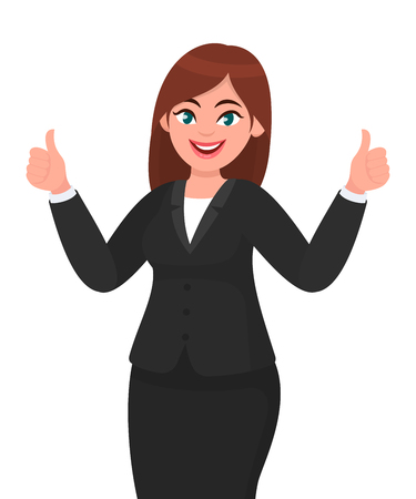 Beautiful smiling business woman showing thumbs up sign / gesturing with both hands. Like, agree, approve, positive concept illustration in vector cartoon style.