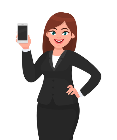 Happy businesswoman showing the blank smartphone. Telecommunication, technology, mobile apps concept illustration in vector cartoon style. 版權商用圖片