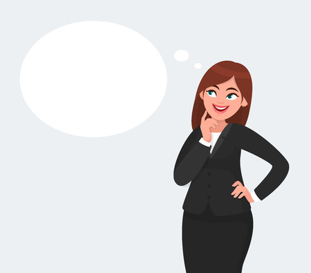Thinking business woman looking up on empty or blank thought bubble while touching finger on face and smiling isolated. Vectores