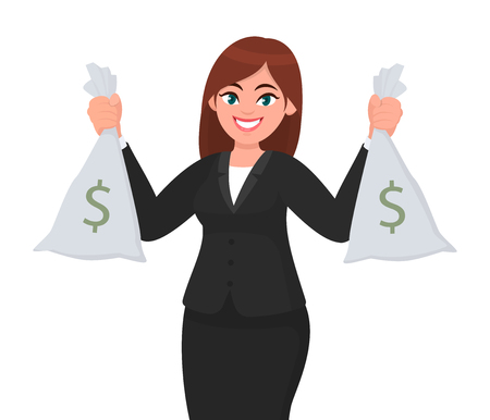 Successful happy businesswoman holding cash/money or currency bags in hands. Business and finance concept illustration in vector cartoon style.