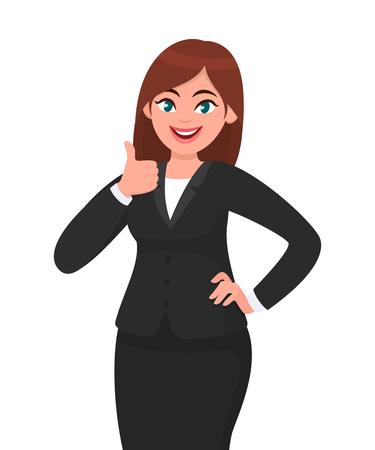 Mooie glimlachende zakenvrouw die duimen omhoog teken/gebaar toont. Zoals, akkoord gaan, goedkeuren, positieve conceptenillustratie in vectorbeeldverhaalstijl. Stockfoto