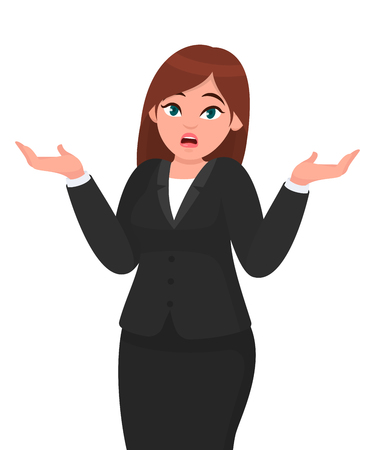 Oops! Sorry! I do not know. Businesswoman shrugging shoulders spreading hands in do not know gesture. Businesswoman concept illustration in vector cartoon style.