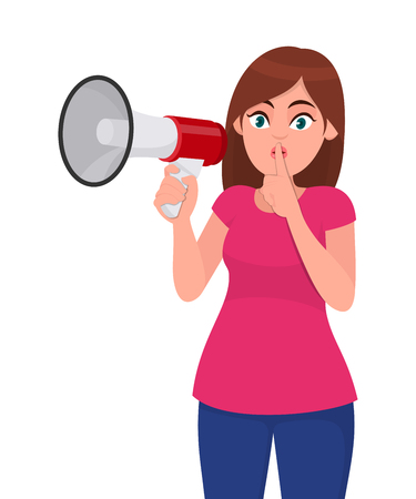 Young woman holding a megaphone/loud speaker, asking for silence, closed her mouth with index finger. Shh! Silence please! Keep quiet! Concept illustration in vector cartoon style.