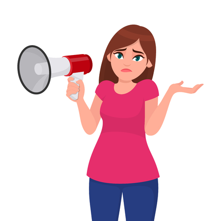 Doubtful woman shrugging and showing hand gesture while holding a megaphone/loud speaker. Oops! Sorry! Question. I do not know. Human emotion and body language concept illustration in vector cartoon. Illustration