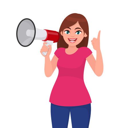 Hermosa mujer sosteniendo un megáfono / altavoz y apuntando hacia arriba con el dedo índice. Chica haciendo anuncio con megáfono. Ilustración de concepto de megáfono y altavoz en estilo de dibujos animados de vector. Ilustración de vector