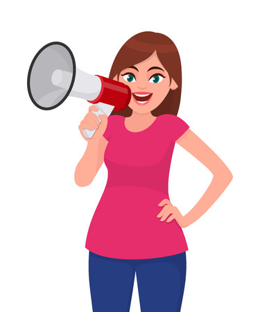 Attractive woman holding a megaphone/loud speaker and holding hand on hip. Girl making announcement with megaphone. Megaphone and loudspeaker concept illustration in vector cartoon style.