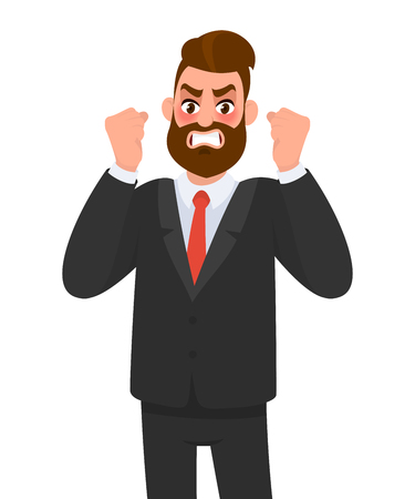 Angry aggressive, frustrated businessman raising fists. Man shouting out loud. Evil, negative, bad facial expression. Human emotion and body language concept illustration in vector cartoon flat style.