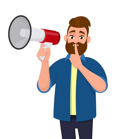 Man is holding a megaphone or loudspeaker and holding index finger on lips asking for silence. Shh! Keep quiet! Silence please! Calm down! The concept of secret illustration in vector cartoon style. Banque d'images - 125140596