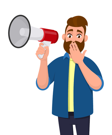 Shocked young man holding a megaphone or loudspeaker and covering or closing his mouth with hand fingers. Human emotion facial expression feeling concept illustration in vector cartoon style.