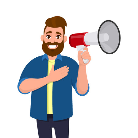 Pleased young man holding a megaphone or loudspeaker and holding hand on chest feeling thankful, gratitude. Human emotion facial expression feeling concept illustration in vector cartoon style.
