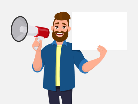 Young man holding a megaphone or loudspeaker & showing/displaying blank, empty white poster, sheet, paper, board. Man advertises or presents your product. Announcement, product introduction concept. Ilustração