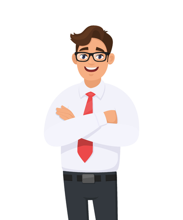 Portrait of handsome young man in white shirt and red tie keeping arms crossed, with eyeglasses. Businessman standing with folded arms pose against white background in vector cartoon illustration.