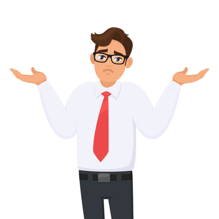 Oops. Sorry. I don't know. Portrait of confused young businessman shrugging shoulders, shows helpless question gesture, spread his hands, he does not know what to do, concept illustration in cartoon. Иллюстрация