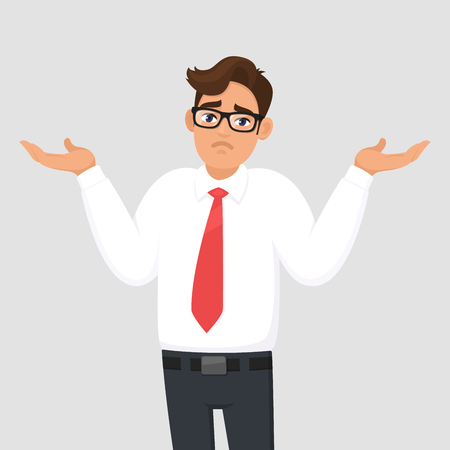 Oops. Sorry. I dont know. Portrait of confused young businessman shrugging shoulders, shows helpless question gesture, spread his hands, he does not know what to do, concept illustration in cartoon. Ilustrace