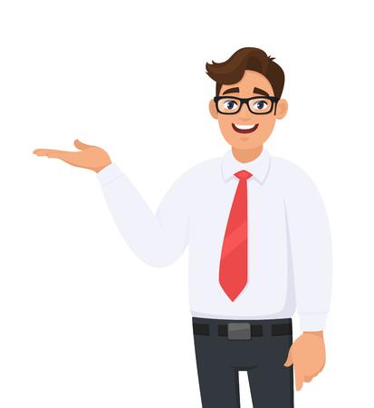 Ritratto di uomo d'affari che mostra/indica la mano per copiare il lato dello spazio con il palmo aperto, concetto di prodotto pubblicitario, introdurre qualcosa. L'uomo mostra il gesto o il segno di presentazione. Illustrazione del fumetto.