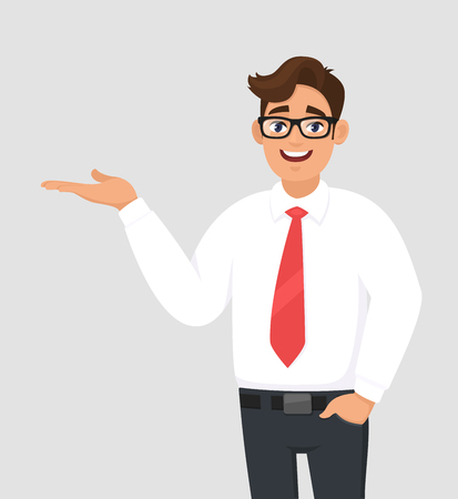 Portrait of businessman showing/pointing hand to copy space side away, hand in pant's pocket, advertisement product or introduce something. Man shows presenting gesture or sign. Cartoon illustration. Vettoriali