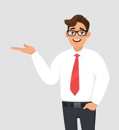Ritratto di uomo d'affari che mostra/indica la mano per copiare il lato dello spazio, la mano nella tasca dei pantaloni, il prodotto pubblicitario o introdurre qualcosa. L'uomo mostra il gesto o il segno di presentazione. Illustrazione del fumetto.