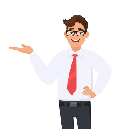 Ritratto di uomo d'affari che mostra/indica la mano per copiare il lato dello spazio, la mano sull'anca, il concetto di prodotto pubblicitario o introdurre qualcosa. L'uomo mostra il gesto o il segno di presentazione. Illustrazione del fumetto.