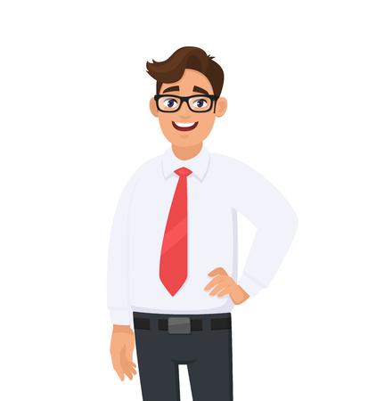 Portret pewnie przystojny młody biznesmen w białej koszuli i czerwonym krawacie, stojąc na białym tle. Ludzka emocja i biznesmen ilustracja koncepcja w wektor kreskówka płaski.