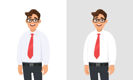 Portrait of confident handsome young businessman wearing white shirt and red tie, standing against white and graygrey background. Businessman concept illustration in vector cartoon flat style.