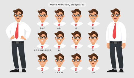Lip sync collection and sound pronunciation for male character's talking/speaking animation. Set of the mouth animation pronouncing words for standing businessman poses in gray/grey background.