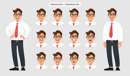 Set of male different facial expressions. Man emoji character with various face reactionemotion, wearing formal dress, tie and eyeglasses. Human emotion concept illustration in graygrey background.