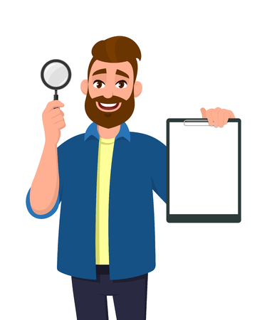 Smart young bearded man showing/holding magnifying glass and blank or empty clipboard/document/report in hand. Search, find, discovery, analyze, inspect, investigation concept illustration in cartoon.