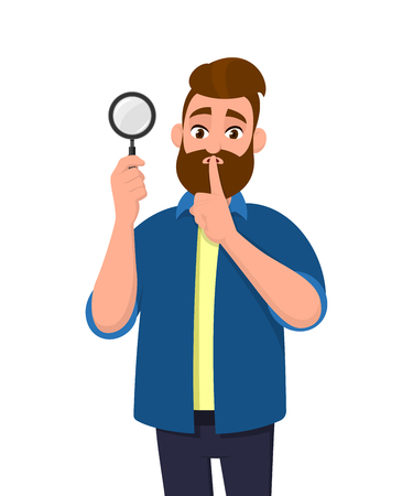 Attractive bearded young man holding magnifying glass and asking silence, keep quiet, shh, silence please! Search, find, discovery, analyze, inspect, investigation concept illustration in cartoon. Banque d'images - 119488242