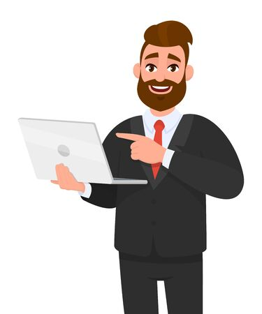 Smiling young bearded business man holding/showing latest brand new laptop computer device and pointing it with hand finger. Modern lifestyle, digital technology trend, portable gadget  in cartoon.