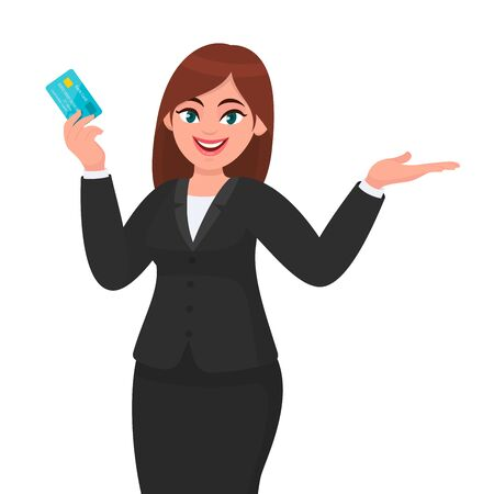 Professional young business woman showing/holding credit/debit/ATM banking card and gesturing hand to copy space side away, presenting/introducing something.  Modern digital payment in cartoon. Standard-Bild - 134281463