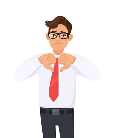 Unhappy business man showing, making, gesturing thumbs down sign with hand fingers. Dislike, bad, disagreement, disgust and negative human expressions concept illustration in vector cartoon style.
