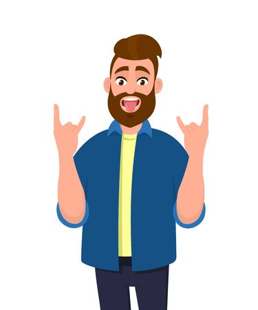 Crazy young man gesturing, doing or making rock sign with hands up with tongue out expression. Rejoicing delightful guy demonstrating tongue out. Modern lifestyle human emotions concept in cartoon.