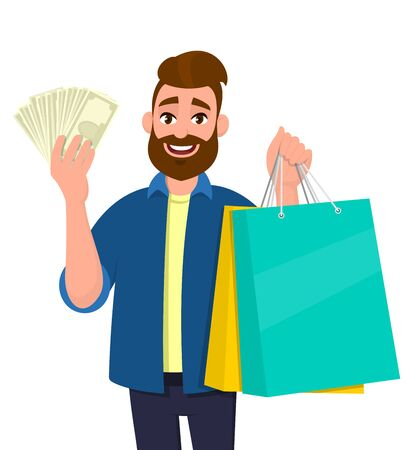 Young man holding shopping bags. Person showing cash, money, currency notes in hand. Male character. Modern lifestyle, digital technology, new purchase, latest trend concept in vector cartoon style.