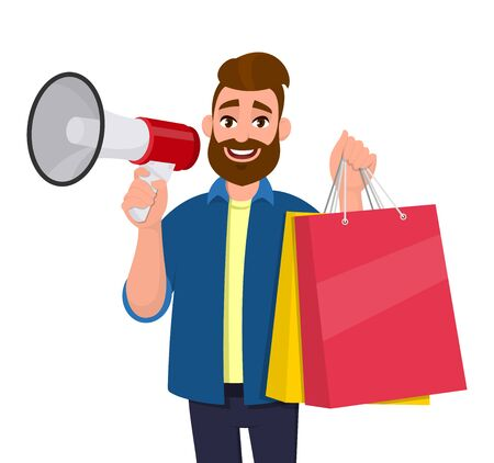 Young man showing shopping bags. Person holding a megaphone or loudspeaker in hand. Modern lifestyle, digital technology, new purchase, latest trend concept illustration in vector cartoon style.