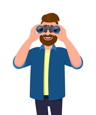 Happy bearded man in casual wear looking through binoculars. Person holding a binocular in hands. Male character design illustration. Modern lifestyle, technology, vision concept in vector cartoon.