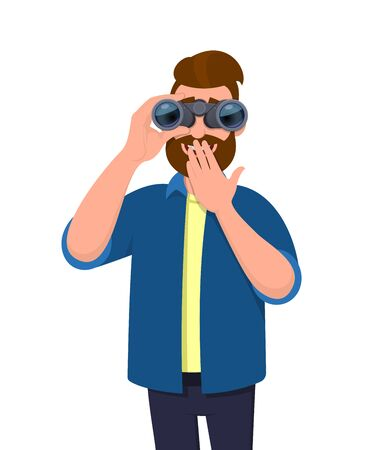 Happy hipster man looking in the distance through binoculars and covering mouth with hand for surprise or excitement. Young person is holding a binocular. Modern lifestyle, technology in cartoon style