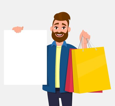Young man holding shopping bags. Person showing a blank white poster, board, banner in hand. Male character illustration. Modern lifestyle, digital technology, new purchase, latest trend in cartoon.