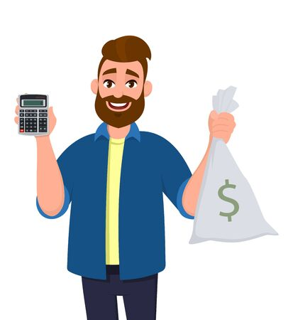 Cheerful man showing or holding digital calculator device and cash, money, currency note bag in hand. Modern lifestyle, latest technology, banking, payment illustration in vector cartoon style.