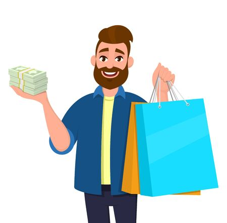 Smiling young man holding shopping bags. Person showing bunch of cash, money, currency notes in hand. Modern lifestyle, digital technology, new purchase, latest trend concept in vector cartoon style.