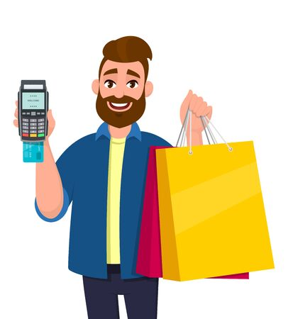 Cheerful young man holding shopping bags. Person showing POS terminal or credit, debit card swiping payment machine in hand. Modern lifestyle, digital technology, concept in vector cartoon style.