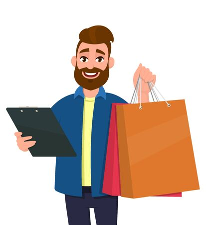 Portrait of young man showing shopping bags. Person holding a clipboard in hand. Male character illustration. Modern lifestyle, digital technology, new purchase, latest trend concept in cartoon.