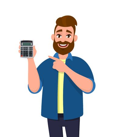 Portrait of young, casual dressed, bearded man showing or holding a digital calculator device in hand and pointing finger. Modern lifestyle, business and finance, banking concept in cartoon style.